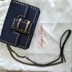 New Roger Vivier denim studded mini shoulder bag